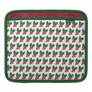 Housse iPad Motif vert de feuille de baies rouges de Noël