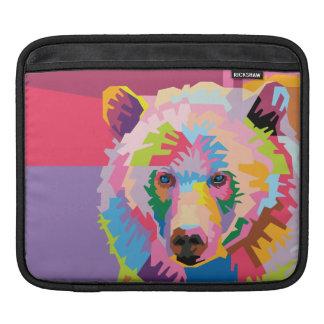 Housse iPad Portrait coloré d'ours d'art de bruit