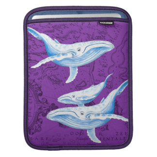 Housse iPad Pourpre de famille de baleines bleues