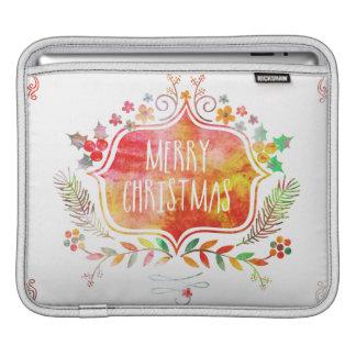 Housse iPad Rétro Joyeux Noël d'aquarelle