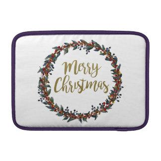 Housse Macbook Air Guirlande d'aquarelle - Joyeux Noël - branches