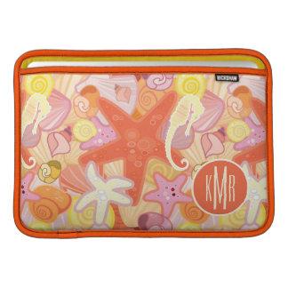 Housse Macbook Air Monogramme en pastel des créatures | de mer