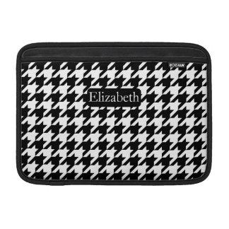 Housse Macbook Air Pied-de-poule élégant noir et blanc avec le nom