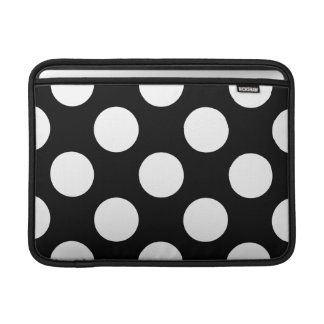 Housse Macbook Air Points, taches, motif pointillé de polka - noir