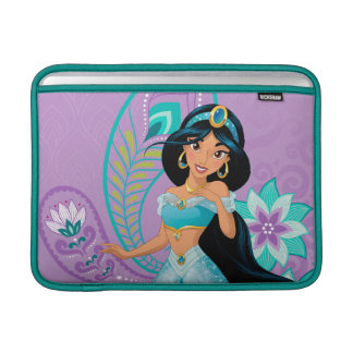 Housse Macbook Air Princesse Jasmine avec des plumes et des fleurs
