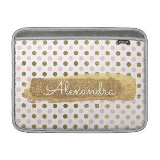 Housse Macbook Air Rose, blanc et nom de point de polka de feuille