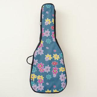Housse Pour Guitare Arrière - plan bleu avec le motif de fleurs coloré