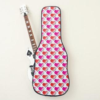 Housse Pour Guitare Coeurs rouges et caisse rose de guitare de motif