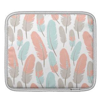 Housse Pour iPad Bleu et gris d'abricot de motif de plumes de Boho