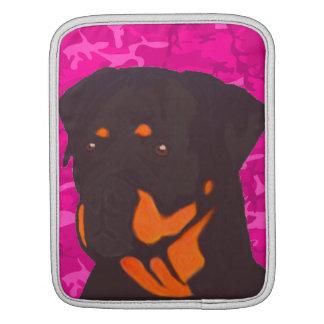 Housse Pour iPad Camo rose avec le rottweiler