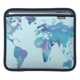 Housse Pour iPad Carte bleue du monde d'aquarelle