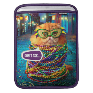 Housse Pour iPad Chat drôle avec les perles colorées au mardi gras