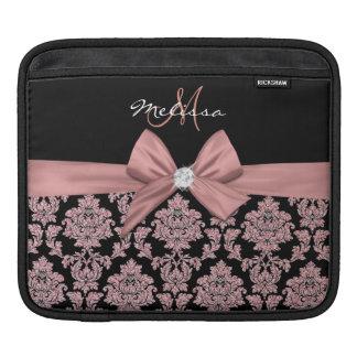 Housse Pour iPad Damassé rose de noir de parties scintillantes