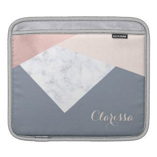 Housse Pour iPad géométrique beige gris d'or rose élégant de marbre
