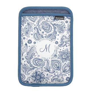Housse Pour iPad Mini Douille florale vintage bleue d'iPad de monogramme