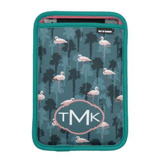 Housse Pour iPad Mini Flamants en pastel sur le monogramme de Teal |
