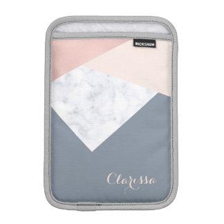Housse Pour iPad Mini géométrique beige gris d'or rose élégant de marbre