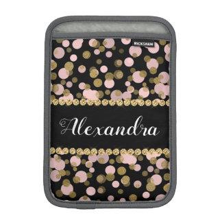 Housse Pour iPad Mini Monogramme rose, noir et de feuille d'or de
