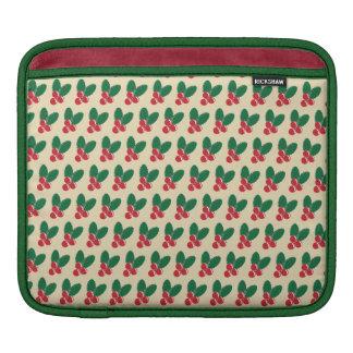 Housse Pour iPad Motif vert de feuille de baies rouges de Noël