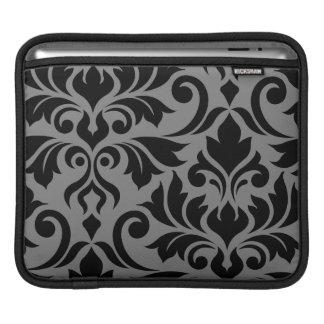 Housse Pour iPad Noir de l'art I de damassé de Flourish sur le gris