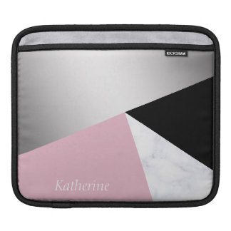 Housse Pour iPad Noir rose de marbre blanc argenté géométrique