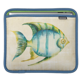 Housse Pour iPad Poissons bleus et jaunes d'aquarium