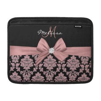 Housse Pour Macbook Air Damassé rose de noir de parties scintillantes