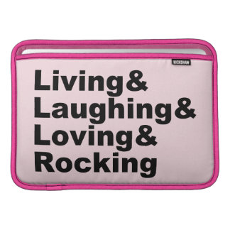 Housse Pour Macbook Air Living&Laughing&Loving&ROCKING (noir)