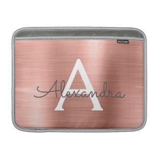 Housse Pour Macbook Air Monogramme d'acier inoxydable d'or de rose de rose