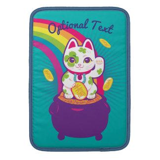 Housse Pour Macbook Air Pot de bonne chance de Maneki Neko de chat d'or
