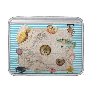 Housse Pour Macbook Air Rayures bleues de trésor marin