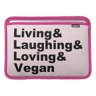 Housse Pour Macbook Air Vie et rire et aimer et végétalien (noir)