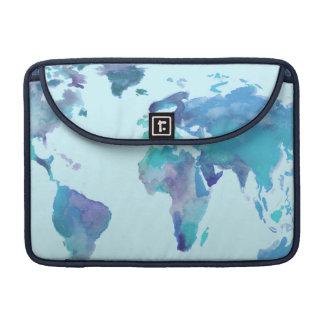Housse Pour Macbook Carte bleue du monde d'aquarelle