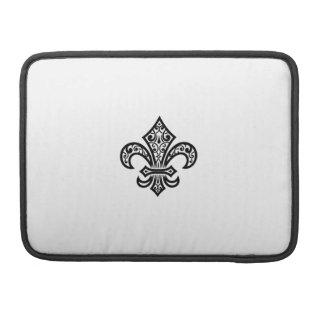 Housse Pour Macbook Douille de Black Fleur de Lis Laptop