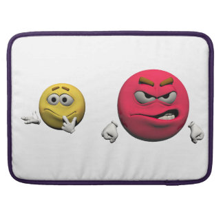 Housse Pour Macbook Émoticône fâchée jaune et rouge ou smiley