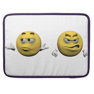 Housse Pour Macbook Émoticône fâchée jaune ou smiley