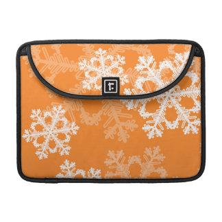 Housse Pour Macbook Flocons de neige mignons de Noël orange et blanc