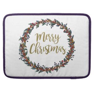 Housse Pour Macbook Guirlande d'aquarelle - Joyeux Noël - branches
