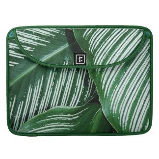 Housse Pour Macbook Le feuille vert avec le blanc barre le plan