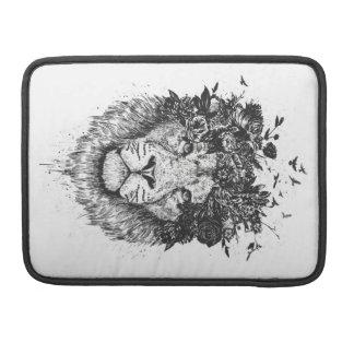 Housse Pour Macbook Lion floral (noir et blanc)