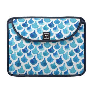 Housse Pour Macbook Motif bleu d'échelle d'aquarelle