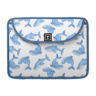 Housse Pour Macbook Motif de baleine bleue d'aquarelle