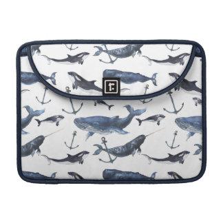 Housse Pour Macbook Motif de baleine et d'ancre d'aquarelle