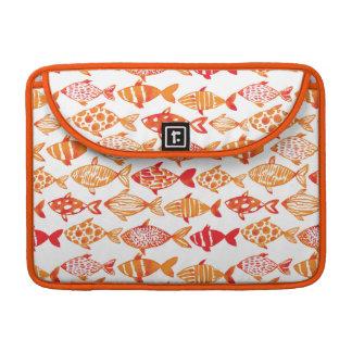 Housse Pour Macbook Motif orange lumineux de poissons d'aquarelle