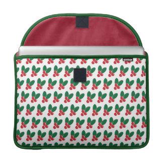 Housse Pour Macbook Motif vert de feuille de baies rouges de Noël