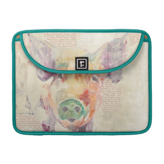 Housse Pour Macbook Porc de collage de ferme d'aquarelle