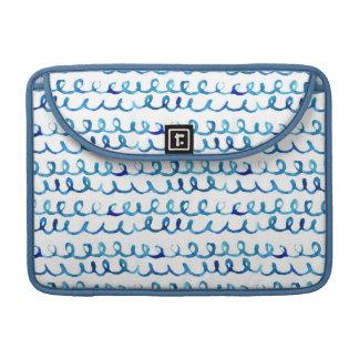 Housse Pour Macbook Profil onduleux d'aquarelle bleue peinte à la main