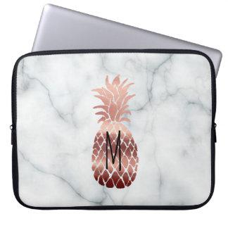 Housse Pour Ordinateur Portable ananas rose d'or de monogramme