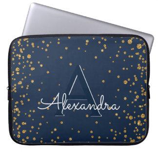 Housse Pour Ordinateur Portable Bleu marine et monogramme de confettis d'or