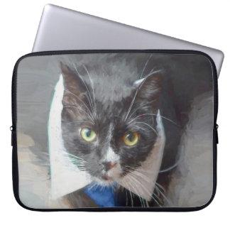 Housse Pour Ordinateur Portable Chat aux yeux verts noir et blanc portant la